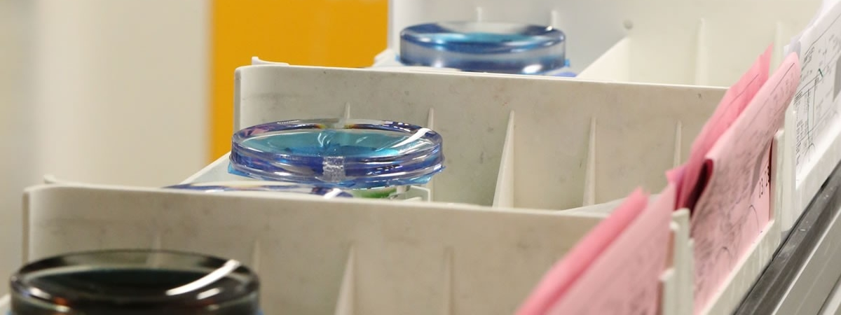 picture of lens trays on conveyor